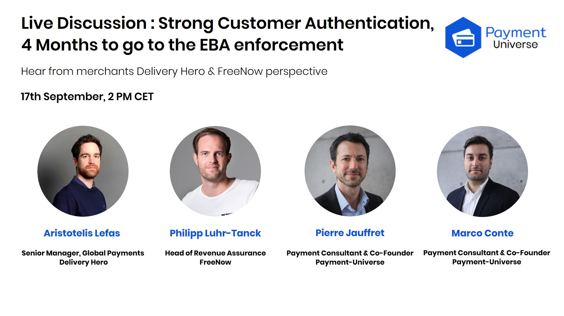 PSD2 Live webinar with Delivery Hero and Free Now. Payment-Universe